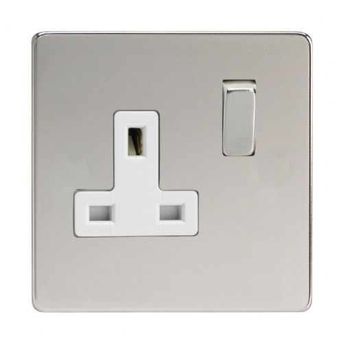 Varilight XDC4WS Screwless Polished Chrome 1 Gang 13A DP Single Switched Plug Socket